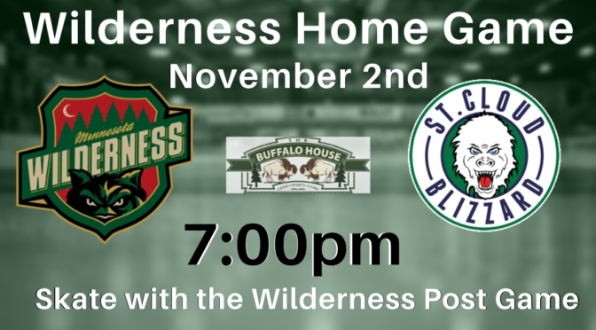 Minnesota Wilderness Hockey Offers Opprotunity for Youth to Skate with them on November 2nd.