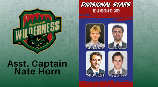 Minnesota Wilderness Hockey Forward Nate Horn is Selected as the Central Division Star of the Week by the NAHL